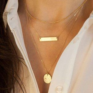 Dainty Layered Gold Bar and Coin Necklace